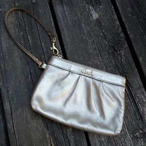 Coach Pleated  Champagne Gold Wristlet #43431